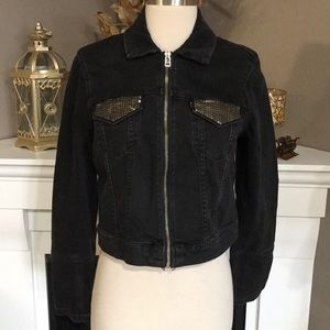 Levi's Washed Black Denim Sequined Crop Jacket